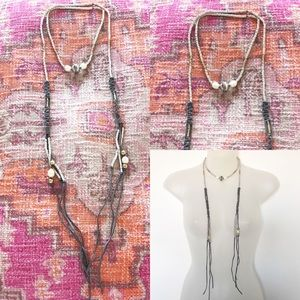 NWOT Vegan Leather Cord and Bead Wrap Necklace